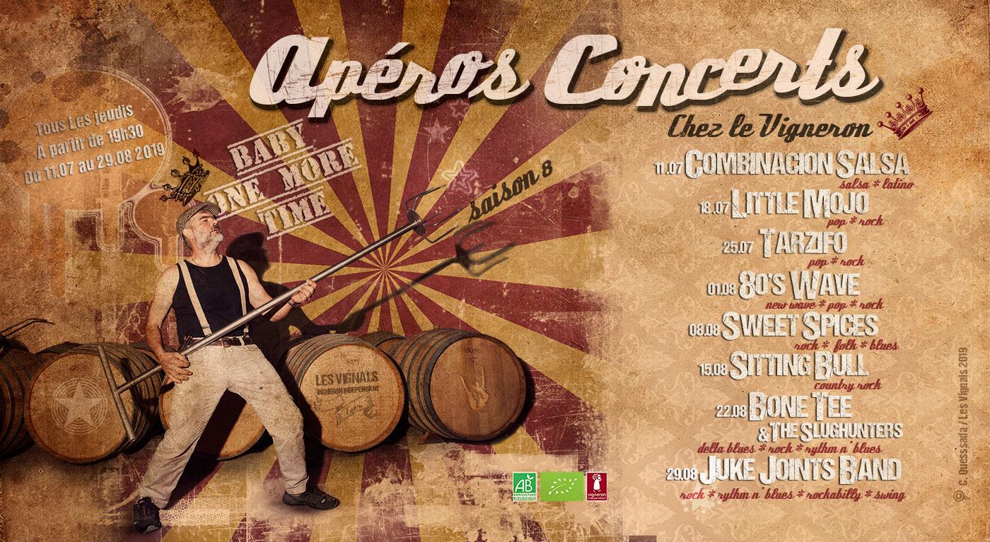 Programme des Apéros Concerts de l'été aux Vignals